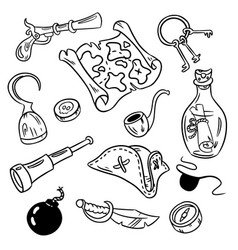Set of pirate doodles vector