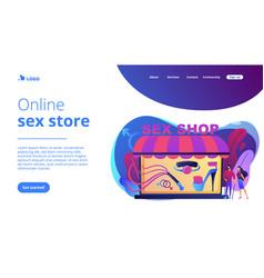 Sex shop concept landing page vector