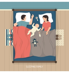 Sleeping Family With Nursing Baby vector