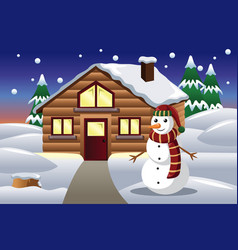 snowman in front of a house vector image