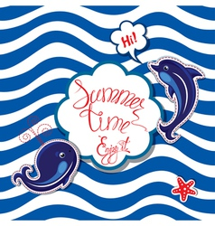 Summer card striped 3 380 vector