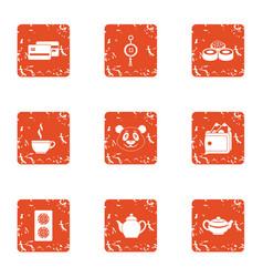 Tea daytime icons set grunge style vector