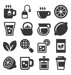 tea icons set on white background vector image