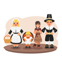 Thanksgiving children turkey pilgrim indian vector