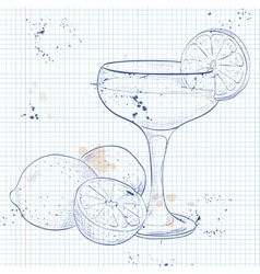 The Daiquiri Cocktail on a notebook page vector