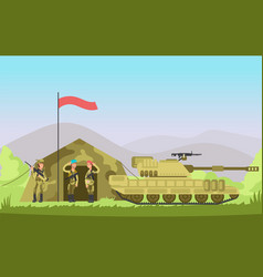 Us army soldier with gun in uniform cartoon vector