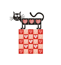 Valentines day card cat heart vector image