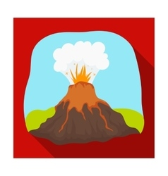 Volcano eruption icon in flat style isolated on vector image