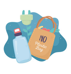 Water bottle shopping bag recycle plug environment vector