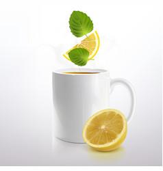 White mug tea with mint and lemon vector