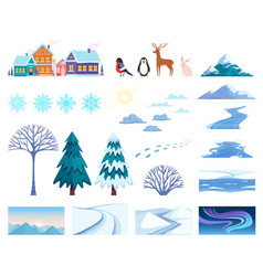 Winter landscape elements set vector