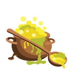 Witch bucket of boiling green liquid magic with vector