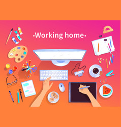 Working home top view vector