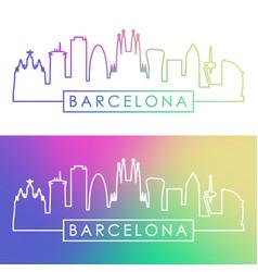 barcelona skyline colorful linear style editable vector image