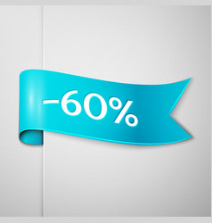 cyan ribbon with text sixty percent for discount vector image