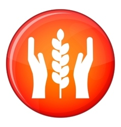 Hands and ear of wheat icon flat style vector image