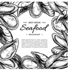 Seafood hand drawn mussel and oyster framed vector