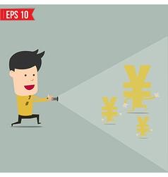 Businessman use flashlight find money vector image vector image