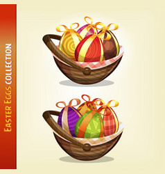 easter eggs inside baskets vector image vector image
