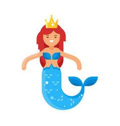 flat style of mermaid vector image vector image