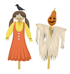 garden ugly terrible fabric scarecrow fright vector image
