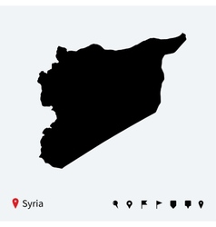 High detailed map of Syria with navigation pins vector image