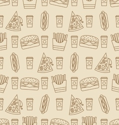Seamless Pattern with Fast Food vector image