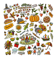 thanksgiving day hand drawn sketch for your vector image