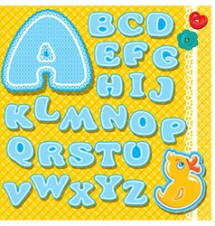 Chidish alphabet - letters are made of blue lace vector image vector image