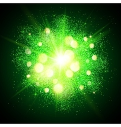 Green shining fireworks explosion at black vector image