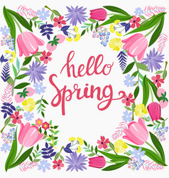 hello spring greeting card design with flowers vector image