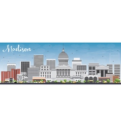 Madison Skyline with Gray Buildings vector image
