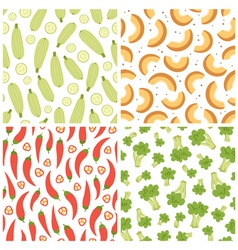 Mixed vegetables seamless patterns set 3 vector image vector image