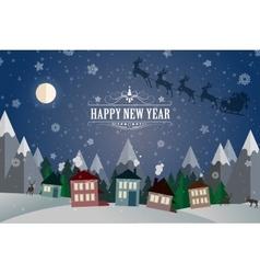 New Year Winter holidays landscape- night street vector image