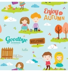 Autumn pattern with happy smiling kids vector image