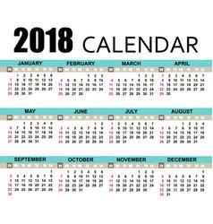 calendar 2018 template vector image