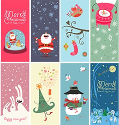 Christmas banner with funny characters vector