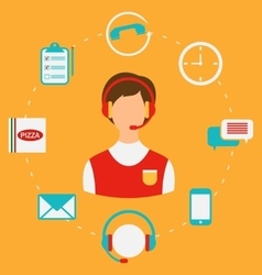 Order Pizza On-line Call Center Home delivery vector image vector image