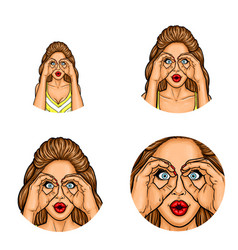 pop art avatar icon - sexy brunette woman vector image