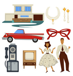 1950s fashion style and architecture epoch vector