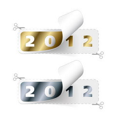 2011 2012 new year stickers vector image