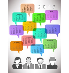 2017 Creative Icon People Calendar vector image