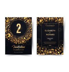 2nd year birthday black paper luxury vector