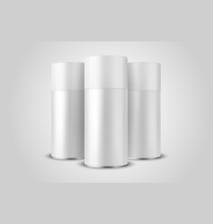 3d realistic white blank spray can bottle vector