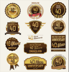 Anniversary golden labels and badges 40 years vector