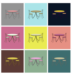 Assembly flat icons chairs and table vector