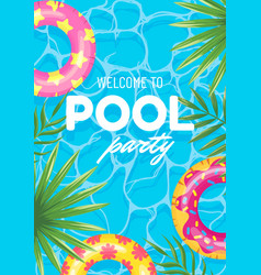 banner swimming pool party welcome top view vector image