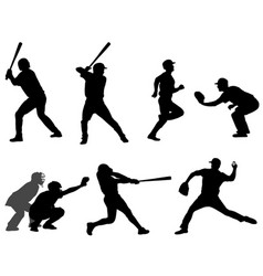 baseball silhouettes collection 3 vector image