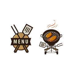 Bbq barbecue logo or label menu design for cafe vector