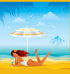 Beach background with beautiful tan girl lazing vector